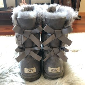 UGG Bailey Bow II Boot Grey Sz 10 NWOB